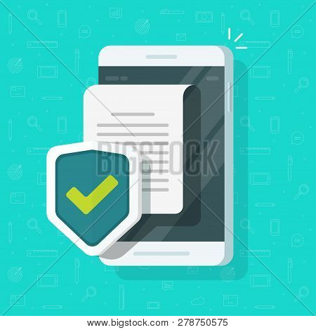 Phone Document Protection Concept, Mobile Confidential Information Or Privacy Idea, Cellphone Securi