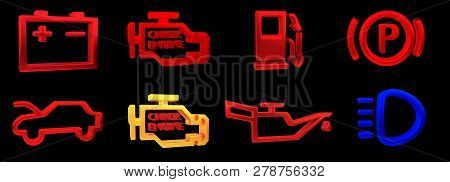 3d Rendering. Collection Of Car Dashboard Panel Indicators, Yellow Red Green Blue Indicators. Icon O