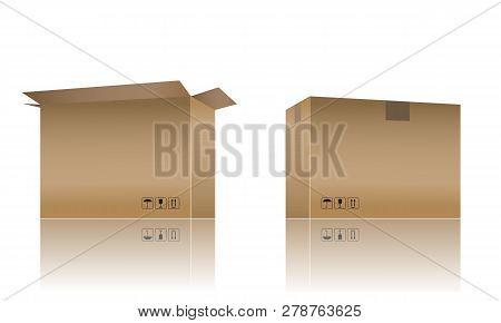 Cardboard Box Mockup With Realistic Color Design. 3d Vector Illustration.