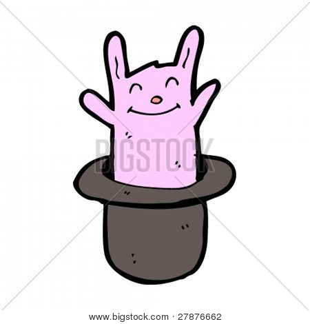 rabbit in a magician's hat cartoon