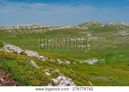Beautiful Spring Landscape On Limestone Chatyr-dah Mountainous Massif, Crimean Peninsula