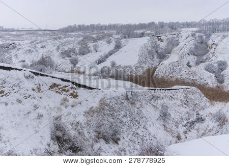 Winter Landscape With Soil Erosion In Suburbs Of Dnipro City, Ukraine