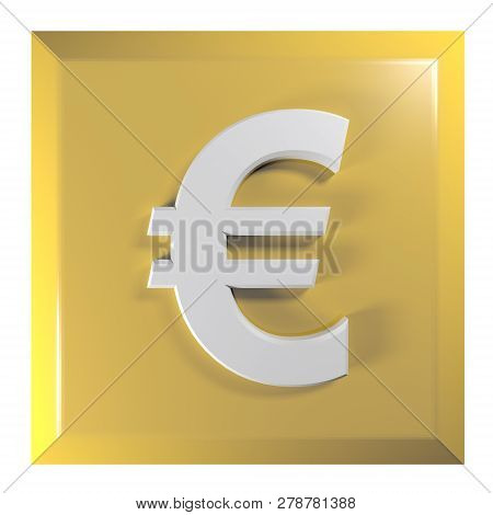 Push Button With The Symbol Of Euro Currency. The Button Is Square And Yellow, Isolated On White Bac