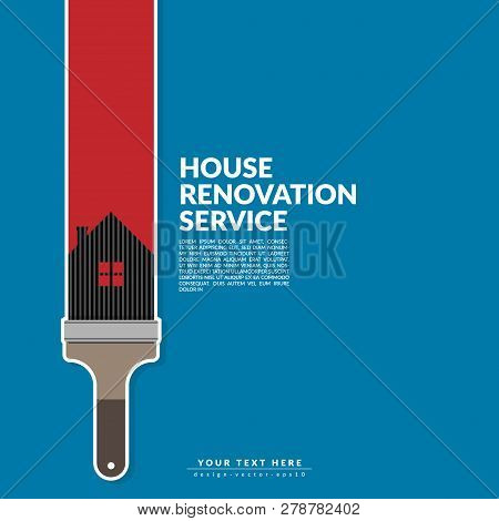 Paint Roller Paint Red Color Over House Logo Isolated On Blue Background. Creative Home Renovation S