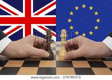 British And European Union Brexit Negotiations. Chess Game Concept.