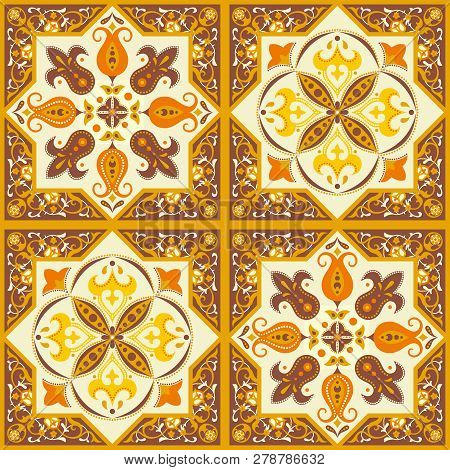 Ornamental Tile Seamless Pattern In Yellow And Brown