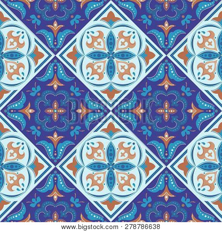 Tile Background, Ornamental Vector Seamless Pattern In Blue