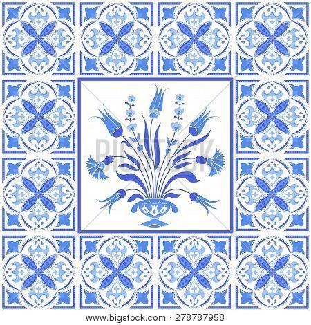 Traditional Ottoman Ornamental Motif, Ceramic Tile Design, Vector Illustration In Blue And White
