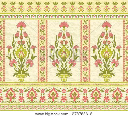 Traditional Decorative Floral Pattern In Ottoman Style