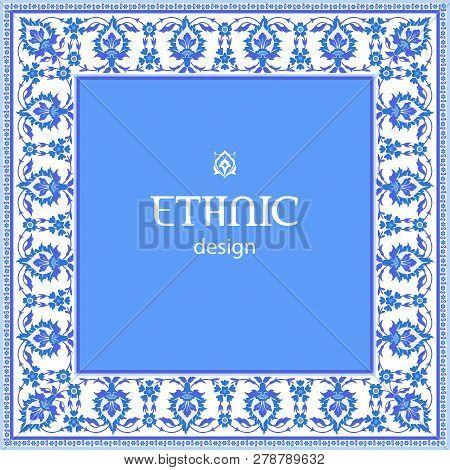 Ethnic Design. Traditional Arabic Ottoman Iznik Motif. Vintage Vector Background In Blue And White