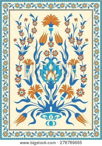 Folk Style Floral Design. Traditional Islamic Turksh Ottoman Motif. Vintage Card Template