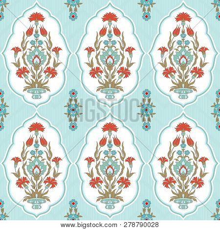 Traditional Islamic Arabic, Turkish, Ottoman Floral Motif. Vector Seamless Pattern