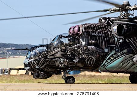 Zaragoza, Spain - May 20,2016: Special Painted Czech Republic Air Force Mil Mi-24 Hind Attack Helico