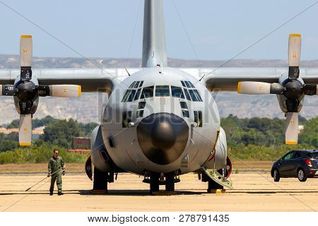 Zaragoza, Spain - May 20,2016: Spanish Air Force C-130 Hercules Cargo Plane On The Tarmac Off Zarago