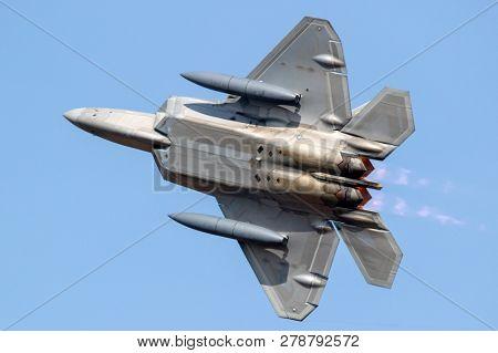 Spangdahlem, Germany - 29 Aug, 2018: Us Air Force Lockheed Martin F-22 Raptor Stealth Air Superiorit