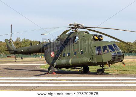 Kleine Brogel, Belgium - Sep 8, 2018: Polish Army Mi-8 Transport Helicopter On Kleine-brogel Airbase