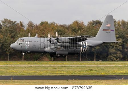 Eindhoven, The Netherlands - Jun 22, 2018: Us Air Force Lockheed C-130h Hercules Transport Plane Wit