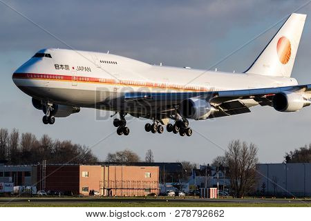 Amsterdam, The Netherlands - Jan 9, 2019: Japanese Air Force One Boeing 747 Aircraft Bringing The Pr