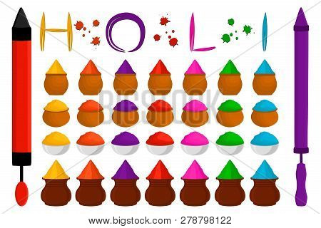 Illustration Theme Big Colored Set Different Types Colorful Bowls, Powder For Holi. Bowl Pattern Con