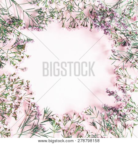 Flowers Composition. Frame Made Of Pink Flowers On Pastel Pink Background. Valentine's Day, Mother's