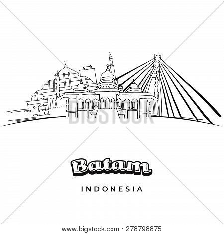 Batam Indonesia Famous Travel Destination. Hand-drawn Vector Illustration