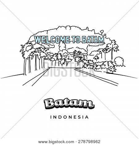 Batam Greeting Card Design. Hand-drawn Vector Illustration. Famous Travel Destinations Series.