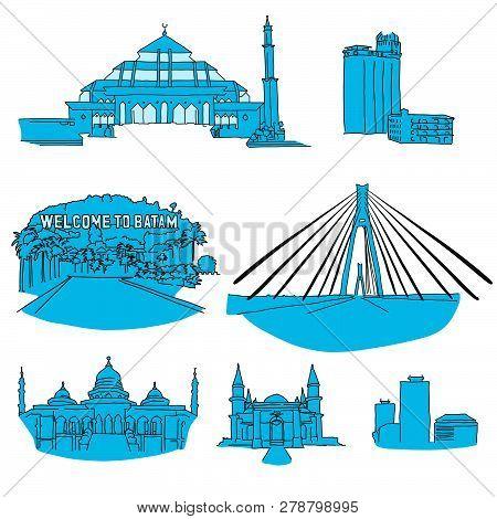 Batam Hand-drawn Architecture. Vector Illustration. Famous Travel Destinations Series.