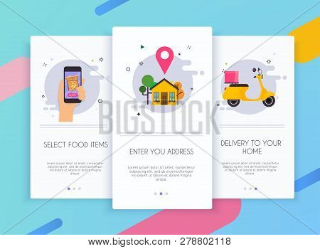 Onboarding Screens User Interface Kit For Mobile App Templates Concept Of Food Delivery. Concept For