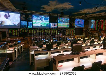 Las Vegas, USA - September 10, 2018: Players betting on horse racing and sports