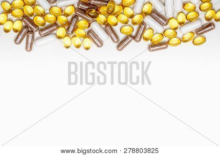 Assorted Pharmaceutical Medicine Pills, Tablets And Capsules.pills Background. Heap Of Assorted Vari