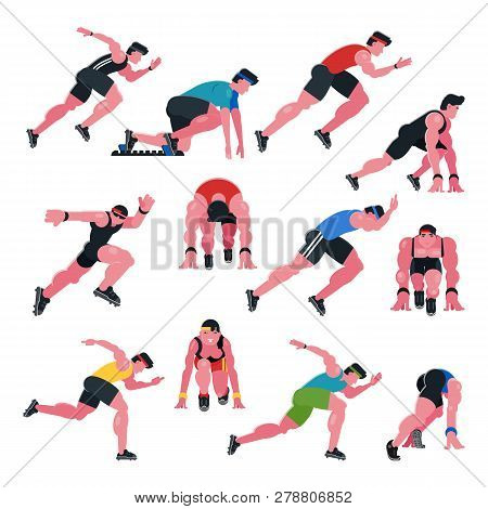 Athlete Vector Athletic People Running And Sprinter Man Character Illustration Sport Training Fitnes