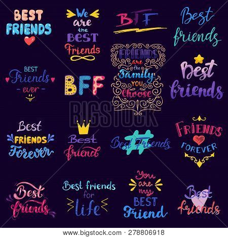 Friend Lettering Vector Bff Friendship Card Typography And Friendly Calligraphy Logotype Best Friend