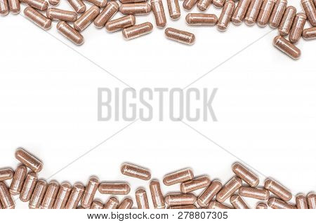 Herbal Capsule On White Background. Health Care Concept.