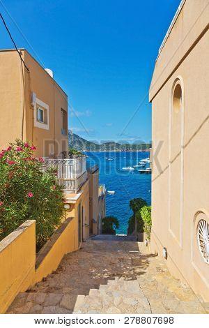 Mediterranean houses with beautiful sea view of the coastline in Sant Elm.  Mallorca island, Spain Mediterranean Sea, Balearic Islands.