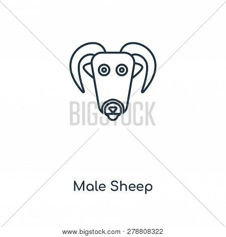 Male Sheep Icon In Trendy Design Style. Male Sheep Icon Isolated On White Background. Male Sheep Vec