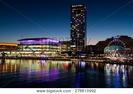 23rd December 2018, Sydney Australia: Night View Of Darling Harbour With Sofitel Hotel And The Inter