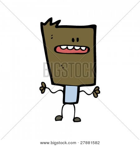 cartoon blockhead man