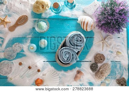 Spa And Wellness Setting With Flowers And Towels. Dayspa Nature Products. Sea Spa