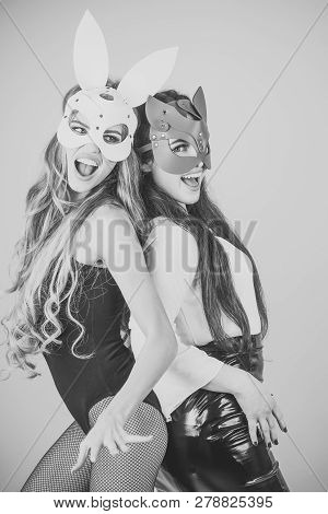 Sexy Women With Long Hair In Carnival Masks, Lgbt. Easter Bunny, Playboy, Friendship. Dominant, Bdsm