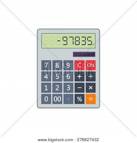 Calculator In Flat Style Isolated On A White Background. Vector Electronic Portable Calculator.