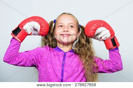 Upbringing For Leader. Strong Child Boxing. Sport And Health Concept. Boxing Sport For Female. Sport