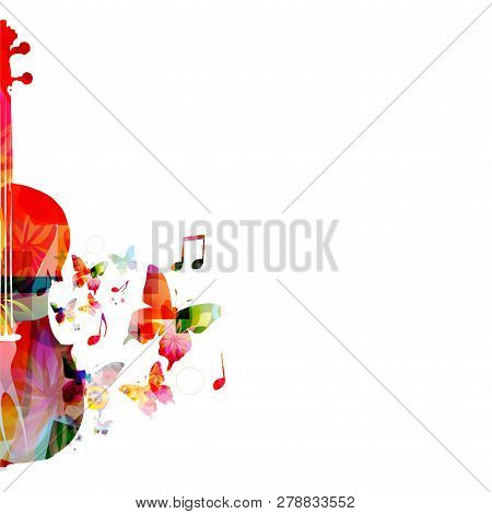 Colorful Violoncello With Music Notes Isolated Vector Illustration Design. Music Background. Music I