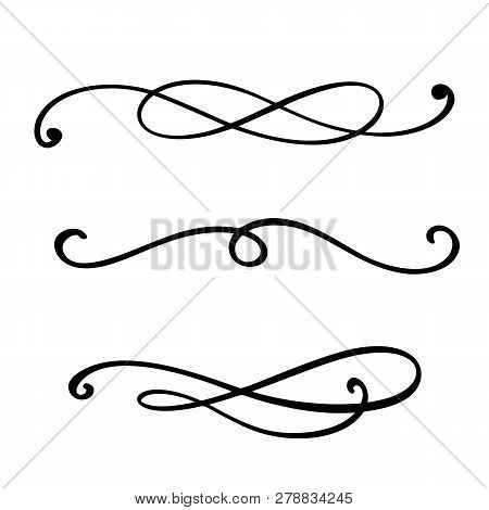 Vector Vintage Line Elegant Dividers And Separators, Swirls And Corners Decorative Ornaments. Floral