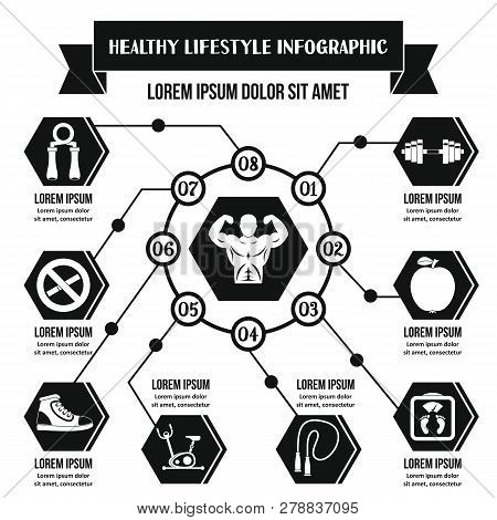 Healthy Lifestyle Infographic Banner Concept. Simple Illustration Of Healthy Lifestyle Infographic P