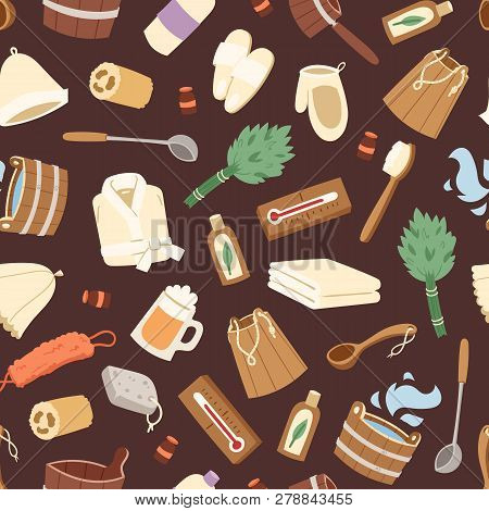 Sauna Vector Seamless Pattern Wooden Heat Spa Relaxation Therapy And Hot Steam Healthcare Backdrop R