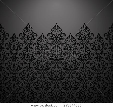Wallpaper In The Style Of Baroque. Vector Background. Black And Grey Floral Ornament. Graphic Patter