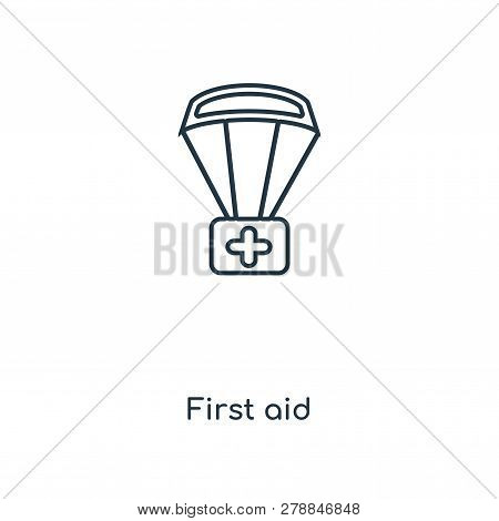 First Aid Icon In Trendy Design Style. First Aid Icon Isolated On White Background. First Aid Vector