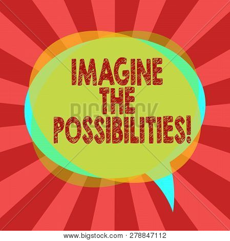 Text Sign Showing Imagine The Possibilities. Conceptual Photo Sense That Something Is Able To Happen