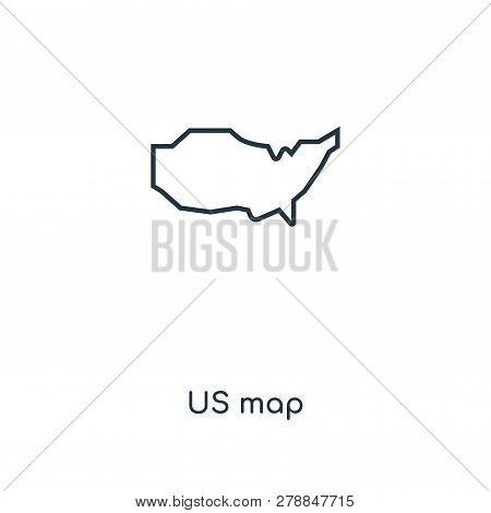 Us Map Icon In Trendy Design Style. Us Map Icon Isolated On White Background. Us Map Vector Icon Sim