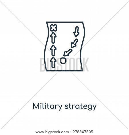 Military Strategy Sketch Icon In Trendy Design Style. Military Strategy Sketch Icon Isolated On Whit
